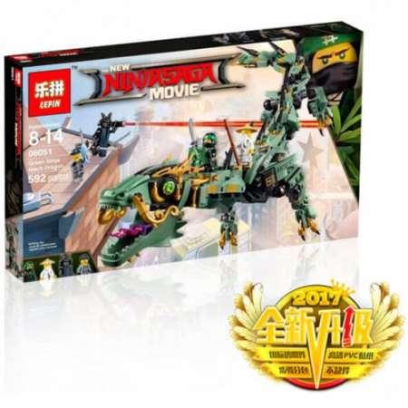 Конструктор Ninja Movie механический дракон зеленого ниндзя 592 детали